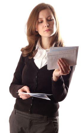 Photo pour woman reading post. - image libre de droit