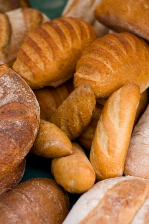 a selection of bread at a market.