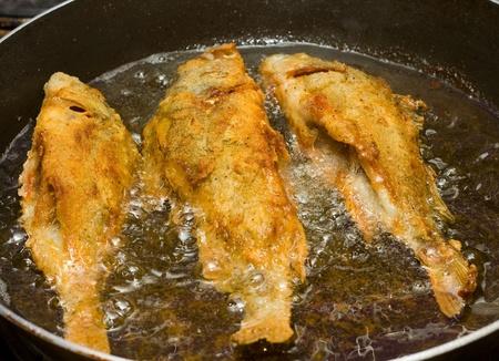 fish frying.