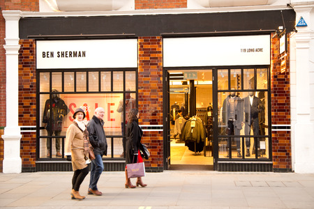 LONDON - JANUARY 22nd: The exterior of Ben Sherman on January the 22nd, 2015, in London, England, UK. Ben Sherman has been trading for 50 years.