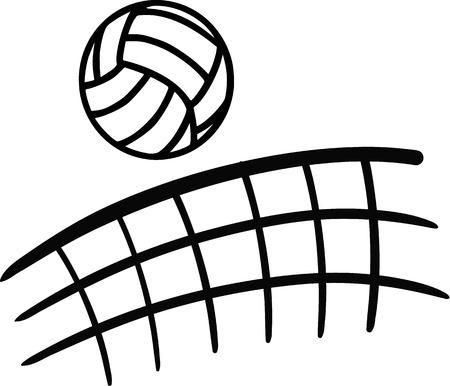 Ilustración de Volleyball flying over net - Imagen libre de derechos