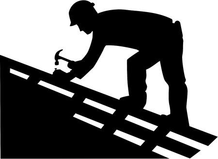 Illustration pour Roofer Silhouette - image libre de droit