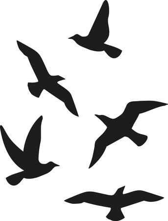 Ilustración de Flock of five birds - Imagen libre de derechos