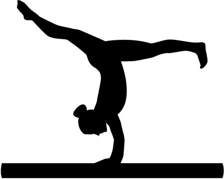 Woman exercise on balance beam