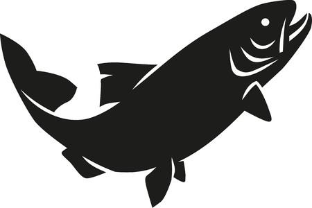 Illustration pour Trout silhouette - image libre de droit