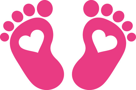 Illustration pour Pink baby foot print with hearts - image libre de droit