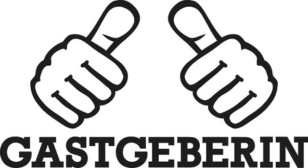 Female host german word with thumbs