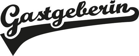 Female host german word retro font