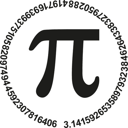 Pi with numbers of pi in a circle
