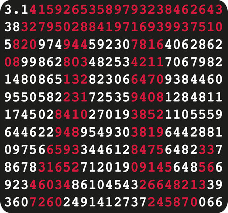 Pi sign and pi numbers on black background
