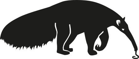 Illustration pour Ant Eater silhouette with tongue - image libre de droit