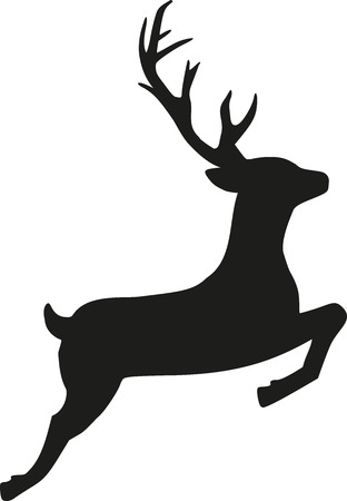 Illustration for Jumping reindeer silhouette - Royalty Free Image