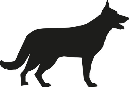 Photo pour German Shepherd silhouette - image libre de droit