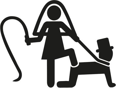 Illustration pour Wedding couple pictogram bride whips groom - image libre de droit