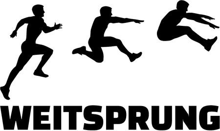 Foto de Long Jump sequence with german word - Imagen libre de derechos
