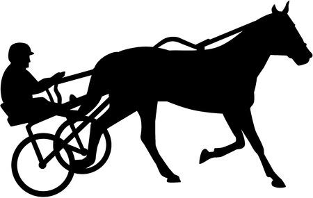 Illustration pour Harness racing silhouette - image libre de droit