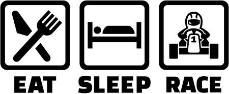 Illustration pour Eat sleep kart racing - image libre de droit