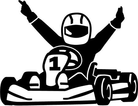 Illustration pour Winning kart racer - image libre de droit