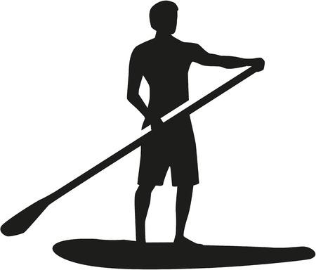 Illustration pour Stand up paddling silhouette - image libre de droit