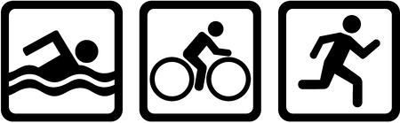 Ilustración de Triathlon triple swim bike run - Imagen libre de derechos