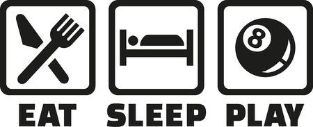 Illustration pour Pool - Eat sleep play - image libre de droit