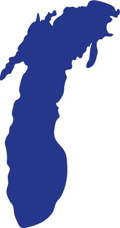 Illustration pour Lake Michigan silhouette - image libre de droit
