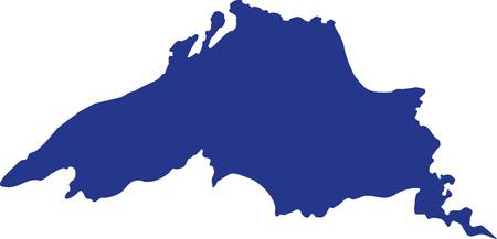 Illustration pour Lake superior silhouette - image libre de droit
