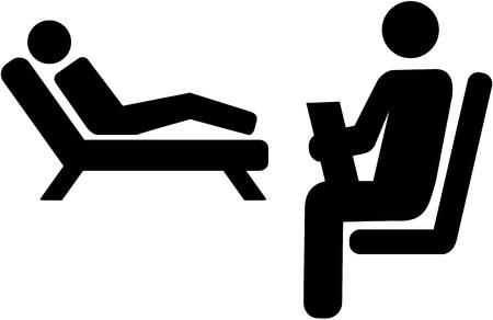 Illustration pour Psychologist icon with patient on a couch - image libre de droit