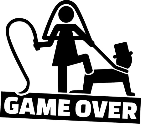 Ilustración de Wedding couple - game over for the man - Imagen libre de derechos