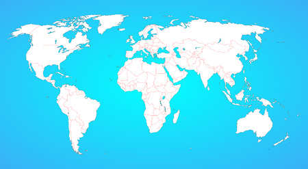 World map with borders between all countries  White shape, isolated on blue, borders are in red  Countries are not selectable individually