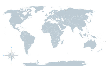 Political world map grey with white borders.