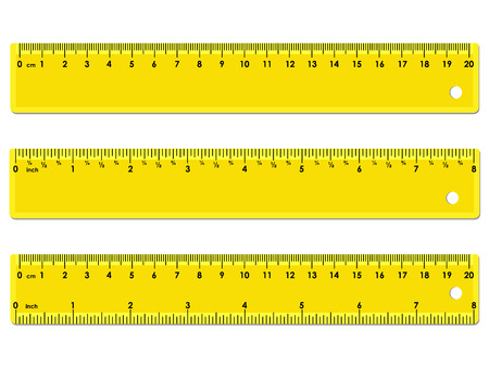 Illustration pour Set of three yellow rulers, marked in centimeters, inches and combined, rectangular shape. Graduation of inches ruler of 1/16 - image libre de droit