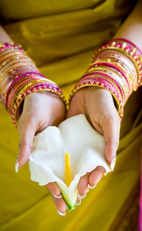 Photo for indian woman with flower - Royalty Free Image