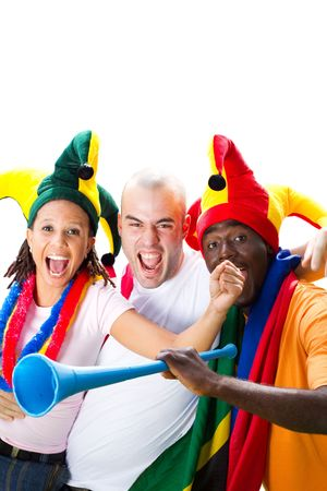 group of excited sports fans