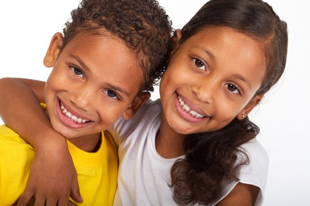 african american brother and sister close-up