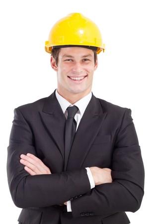 businessman wearing construction hard hat