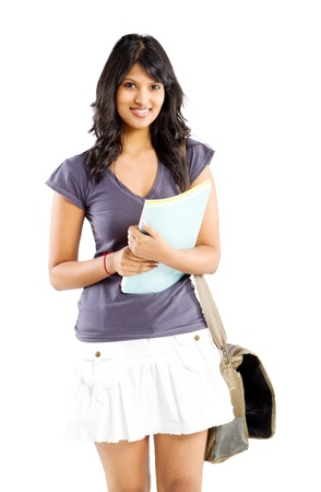 cute indian college student studio portrait