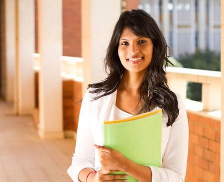 beautiful young college student in school building
