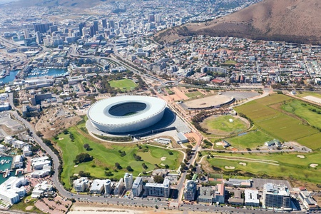 aerial view of green point stadium and downtown of Cape Town, South Africa