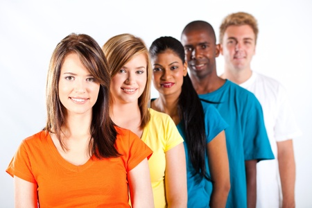 group of young multiracial people on white background