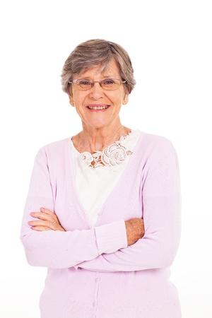 Foto für senior woman arms folded isolated on white - Lizenzfreies Bild