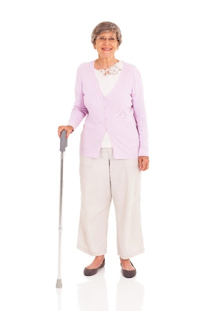 Photo for senior woman with walking cane isolated on white background - Royalty Free Image