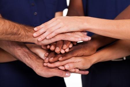 Photo pour multiracial hands together to form teamwork - image libre de droit