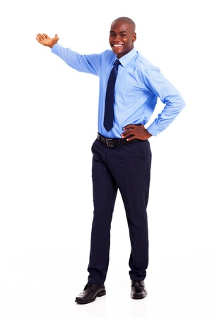 african american businessman presenting on empty copyspace