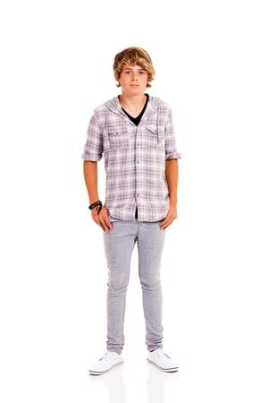 Photo pour teen boy full length portrait isolated on white background - image libre de droit
