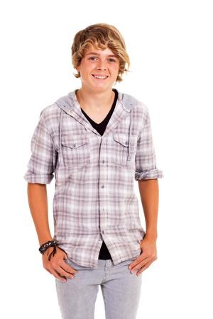cute teenage boy studio portrait isolated on white