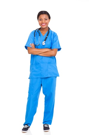 pretty african american female intern nurse isolated on white background