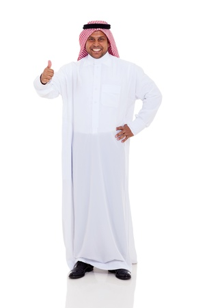 cheerful arabic man giving thumb up on white background