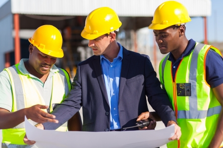 Photo for group of male architect and construction workers on construction site - Royalty Free Image