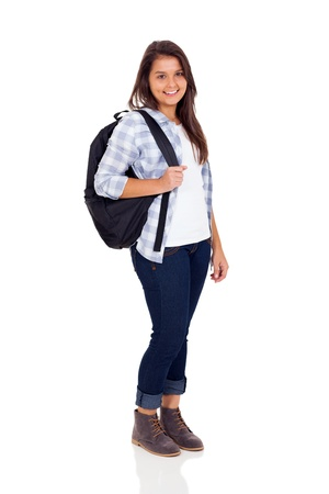 smiling teen high school girl with backpack isolated on white background